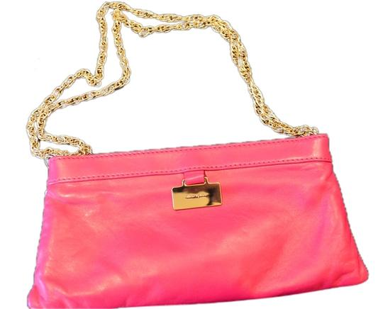 Kate Spade Leather Gold Chain Pink Clutch