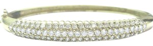 Other 18Kt Round Cut Diamond 3-Row Yellow Gold Bangle Bracelet 3.60Ct