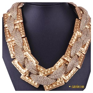 Other New Gold Tone Geometric Chain Statement Necklace