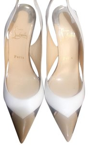 Christian Louboutin White/Tan/Black/Silver Pumps