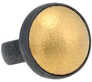 GURHAN Gurhan Amulet Blackened Silver & layered Gold Hammered Dome Ring