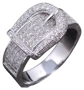 Other New Simulated Sapphire White Gold Filled Buckle Ring