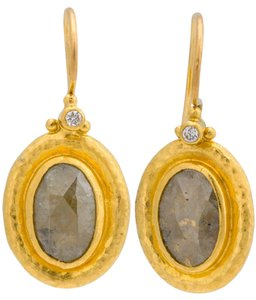 GURHAN GURHAN Silhouette earrings in 24K Yellow Gold with Champagne Diamond