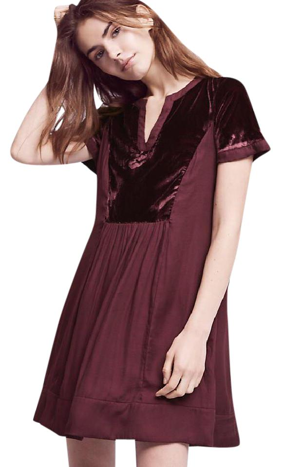 37a036695f15 Anthropologie Plum Velvet Tunic Above Knee Short Casual Dress Size 8 ...