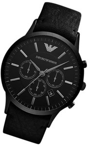 Emporio Armani 100% New Emporio Armani Chronograph Black Leather Mens Watch AR2461