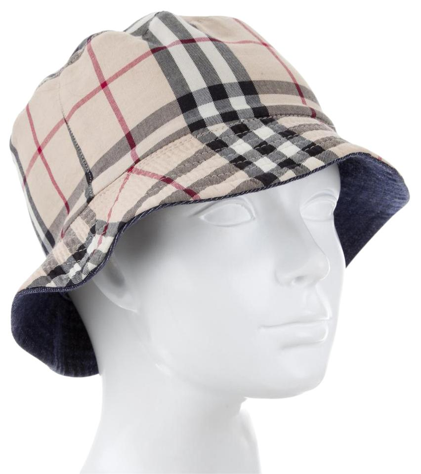 1a25847f0be Burberry Beige Black Red Multicolor Nouse Check Print Bucket Hat ...