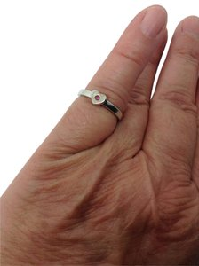 Tiffany & Co. size 5.5, pink sapphire, heart shaped, stacking, fashion ring