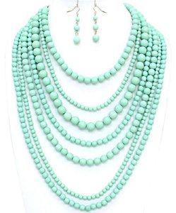 Fashion Multi Strand MultiLayer Mint Green Bead Bib Collar Necklace And Earring