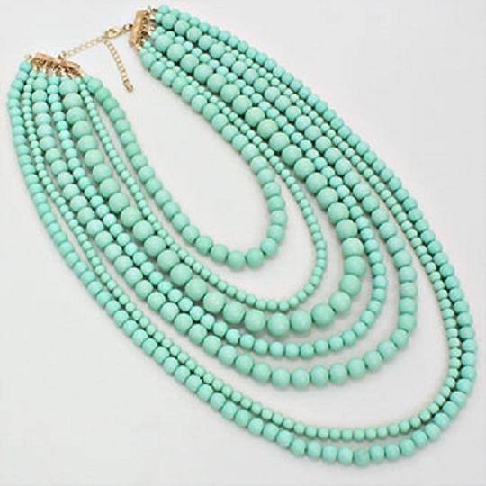 Other MultiStrand Turquoise Mint Green Bead Necklace And Earring