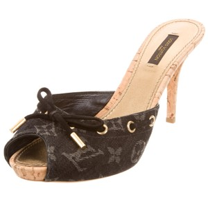 Louis Vuitton Peep Toe Gold Hardware Lv Monogram Idylle Black, Grey, Beige Pumps