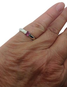 Tiffany & Co. size 5.25, pink sapphire, sterling silver, stacking, fashion ring