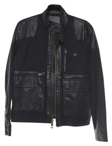 True Religion Leather Zipper Mesh Shoulder Pads Motorcycle Jacket