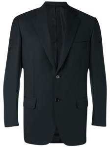 Brioni Wool Silk Cotton Designer Black Blazer