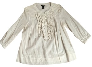 H&M Ruffle Pleated Top Creme Stripe