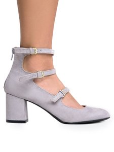J. Adams Suede Zipper Closure Round Toe Heel Grey Suede Pumps