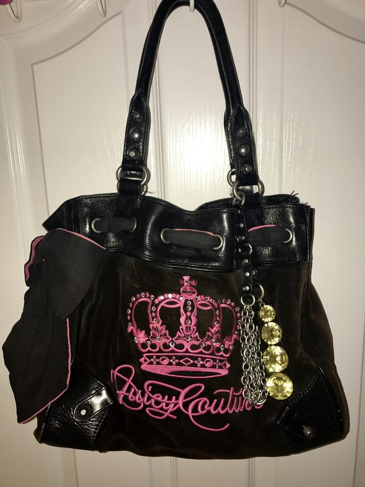 ac1f80ea5c68 Juicy Couture Scotty- Daydreamer Tote Black and Pink Velour Hobo Bag ...
