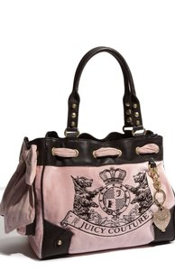 Juicy Couture Leather Velour Hobo Tote in Pink
