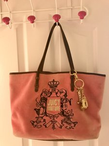 Juicy Couture Velour Brown Leather Tote in Pink