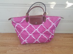 Longchamp Tote Satchel in hot pink/white/brown