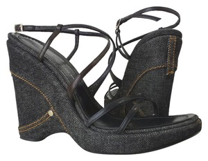 Casadei Denim Size 7 Boho Sandals Strappy (7) denim Wedges