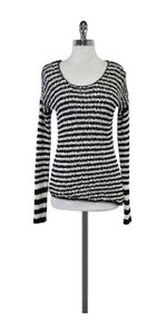 360 Sweater Black & White Striped Knit Sweater