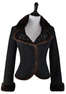 Blumarine Tweed Mink Embelished Size 44 Black Wool Sparkle Black Tweed Mink Fur Embellished Jacket Size 44 Like New BLACK/TWEED/MINK Blazer