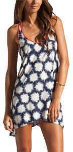 FREE SHIPPING New's Blue Sparks Print Cover-ups Beach Dress Item No. : LC40734-2