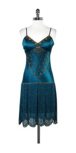 Sue Wong short dress Teal Beaded Spaghetti Strap on Tradesy