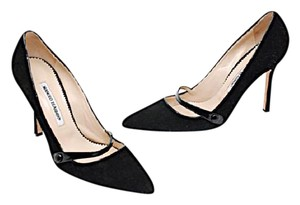 Manolo Blahnik Manolo Suede Black Pumps