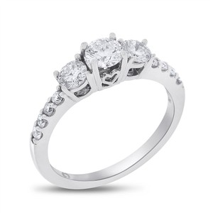 Other 1.05 Ct. Natural Diamond Three Stone Love Promise Ring in Solid 14k