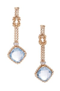 David Yurman David Yurman 18K Gold Blue Topaz Cushion On Point Drop Earrings