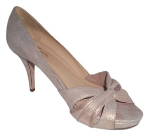 Kate Spade Metallic Shimmery Nude Goldtone Leather Wedding Gold Metallic Pumps