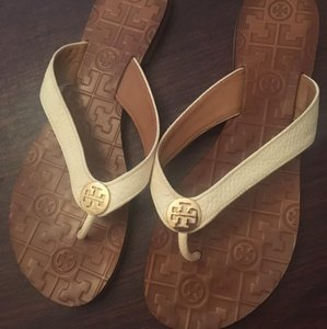 Tory Burch Leather Pebbled Gold Hardware White Sandals