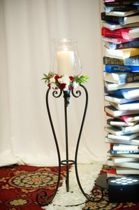 Hurricane Glass And Black Iron Candle Stands