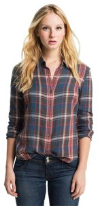 James Perse Button Down Shirt Harbor Plaid - Heather and Sea Rose