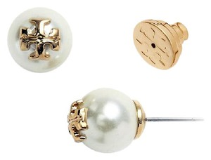 Tory Burch Tory Burch ivory Swarovski Crystal Pearl Studs Logo Earrings