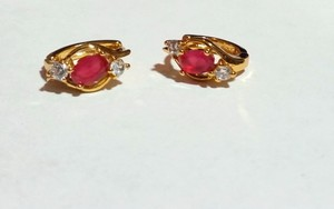 Other New 14K Gold Filled Cubic Zirconia Hoop Earrings Small Pink J3214