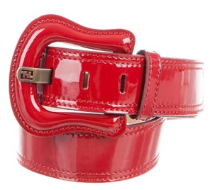Fendi Red patent leather Zucchino monogram Fendi belt S