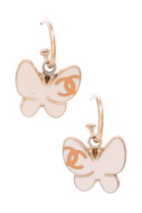 Chanel Chanel Gold-Tone & Ivory Enamel Butterfly Earrings