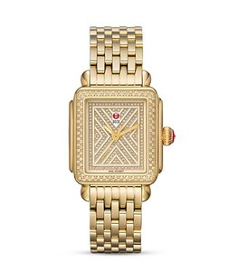 Michele NEW Art of Deco Pave Diamond Gold Limited MW06T01B0979 Ladies Watch