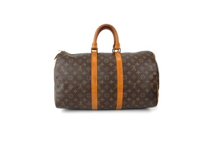 Louis Vuitton Keepall Duffle Weekender Monogram Brown Travel Bag