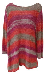 Chico's Oversized Asymmetrical Striped Tunic Sweater