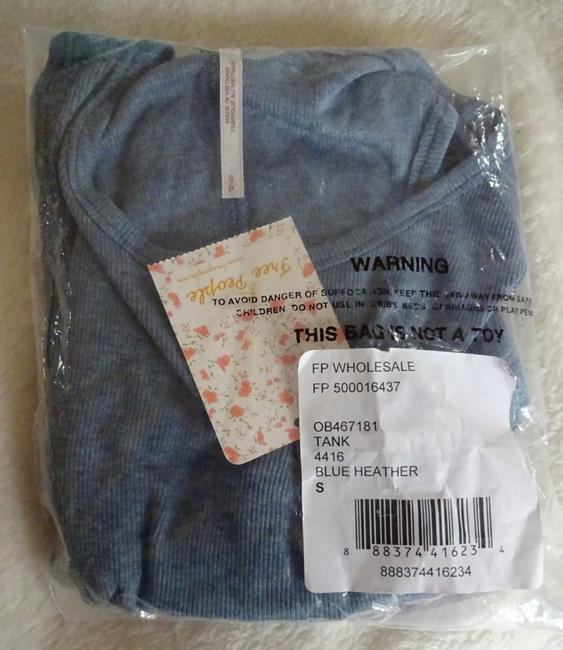 Free People Comfy Cut Out Back Back Hook + Eye Ribbed Construction Cool Sleeveless Top Blue