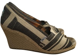 TOMS espadrilles black and white Wedges