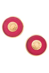 Herms Hermes Vintage Gold-Tone Metal & Pink Leather Sellier Clip-On Earrings