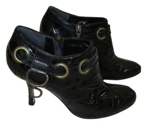 Dior Patent Leather Quilted Dangling D Charm Size 36.5 Black Boots