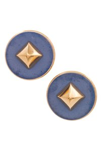 Hermès Hermes Vintage Gold-Tone Metal & Blue Leather Spike Clip-On Earrings