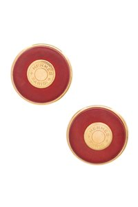 Hermès Hermes Vintage Gold-Tone Metal & Red Leather Sellier Clip-On Earrings