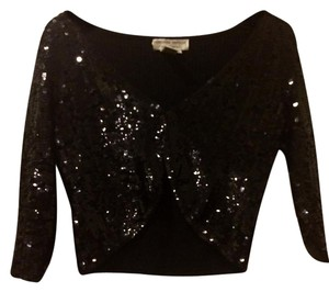 Adrianna Papell Sequin Cover Up Top Black