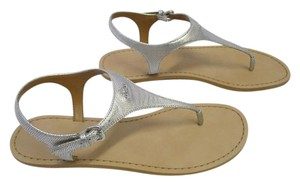 Coach Leather T-strap New In Box Size 8 Silver Sandals
